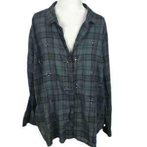 Rock & Republic Plaid Pullover Long Sleeve Buttons